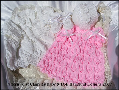'English Country Garden' 16-22 inch doll/preemie/0-3m+ baby-coat, dress, bonnet, bootees, reborn, knitting pattern, doll, baby, babydoll handknit designs