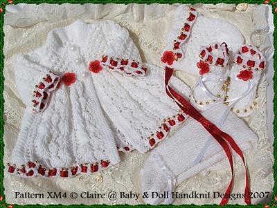 'Christmas Rose' Knitting Pattern 10-16 inch dolls/prem baby