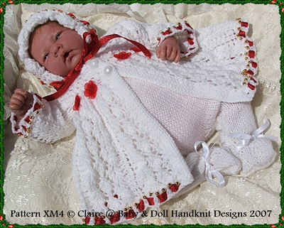 "'Christmas Rose' Knitting Pattern 10-16"" dolls/prem baby-christmas, doll, knitting pattern, babydoll handknit designs, reborn"