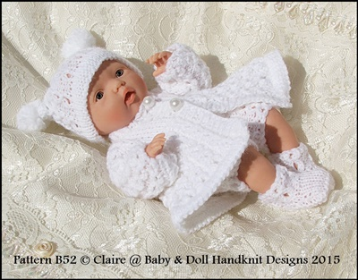 "Chain Stitch Matinee Coat Set 7-12"" Doll-knitting pattern, doll, reborn"
