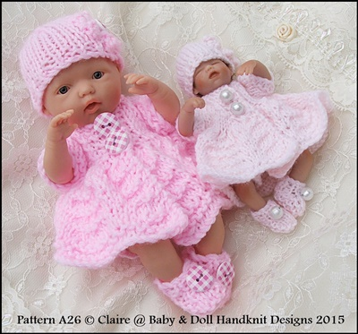 Button Front Dress Set 4-8 inch dolls