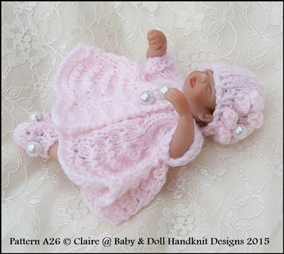 "Button Front Dress Set 4-8"" dolls-knitting pattern, sculpt, ooak, handful"
