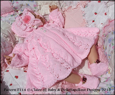 Frilled Matinee Set 16-22 inch doll (preemie-3m+ baby)