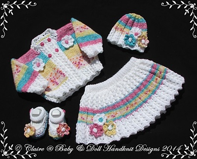Floral Skirt & Jacket Set 16-22� doll/prem-3m+ baby-babydoll handknit designs, knitting pattern, flower, floral, jacket, skirt, doll, reborn, baby