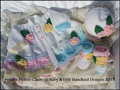 Floral Coat, Hat & Boots Set for 16-22 inch doll / prem-3m+