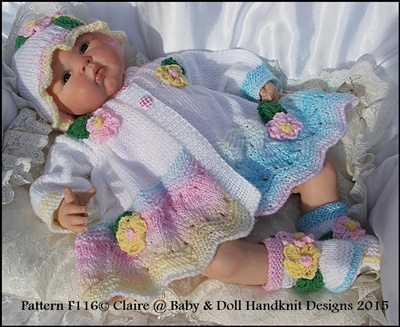 Floral Coat, Hat & Boots Set for 16-22 inch doll / prem-3m+