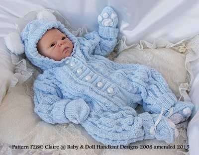 Bunny/Teddy All-in-one 17-24 inch doll/newborn/0-3m baby
