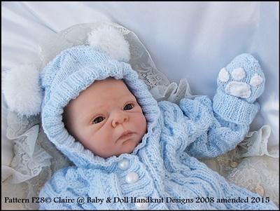 Bunny/Teddy All-in-one 17-23 inch doll/newborn/0-3m baby