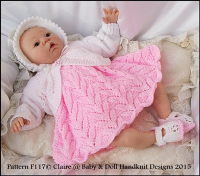Flower Motif Dress Set for 15-20 inch doll/preemie /0-3m