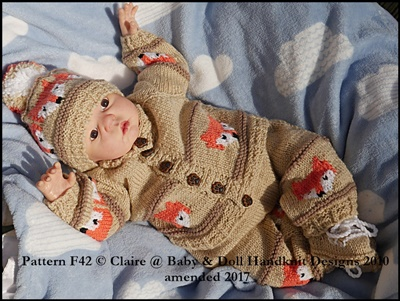 Teddy/Fox Motif Suit for 16-22 inch dolls/0-3m baby
