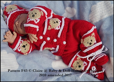 Teddy/Fox Motif Suit for 16-22 inch dolls/0-3m baby