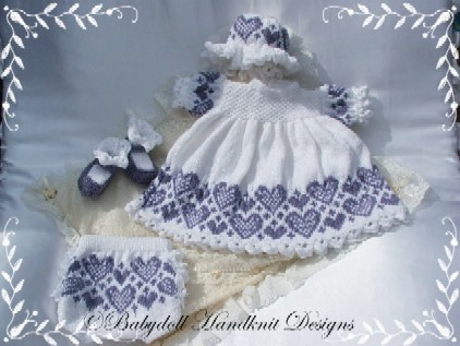 Heart Patterned Dress Set 16-22 inch doll/0-3m baby