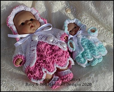 Dress & Cardigan Set for 5 & 8 inch Berenguer dolls