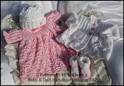 Lacy Dress & Cardigan Set 16-22 inch doll/preemie-3m+ baby