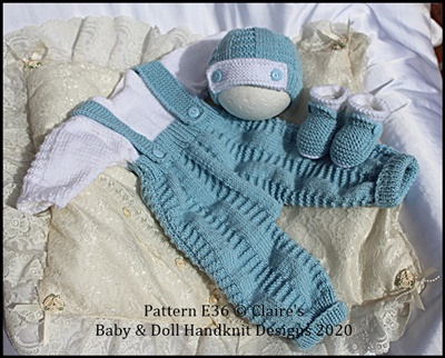 "Button Fronted All-in-one set 16-22"" doll/preemie – 3m+ baby"