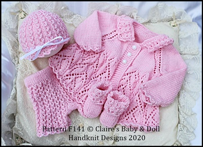 Lacy Edged Summer Suit 16-22 inch doll (preemie-3m+ baby)