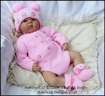 "Bodysuit, hat and bootees 16-22"" doll/preemie – 3m+ baby"