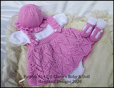 Frilled Skirt all in one Romper Set 16-22 inch doll/preemie-3m+ baby