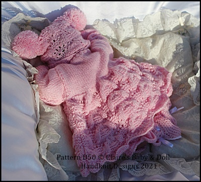Wavy Lacy Matinee Set for 15 -19 inch doll (preemie-newborn baby)