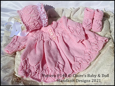 Leafy Lace Matinee Set for 16-22 inch doll/preemie-3m+ baby