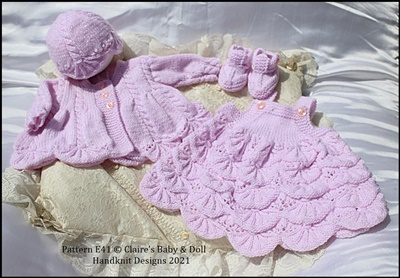Scalloped Dress & Jacket Set 16-22 inch doll/preemie/0-3m baby