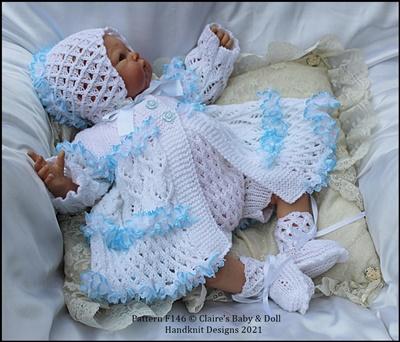 Lacy Lattice Matinee Set 16-22 inch doll (preemie-3m+ baby)