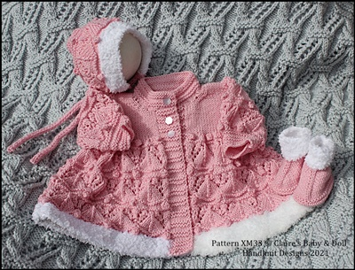 Fur Trimmed Lacy Matinee Set 16-22 inch doll/preemie-3m+ baby
