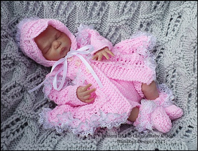 Lacy matinee set for 10-16 inch doll/preemie baby