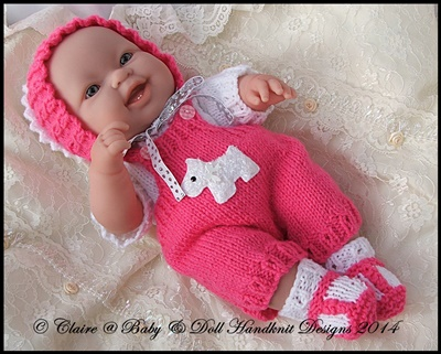 Dungaree Set 14� �Lots to Love� Berenguer doll-lots to love, bathtime baby, berenguer, knitting pattern, doll, babydoll handknit designs