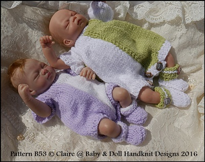 Romper & Coat Set 8-13� doll-knitting pattern, romper, doll, jacket, babydoll handknit designs, reborn,
