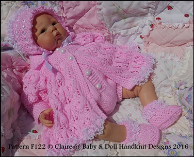 Leaf and Bud Matinee Set 16-22� doll (preemie-3m+ baby)-babydoll handknit designs, doll, knitting pattern, reborn, baby, matinee, leaf pattern, bonnet