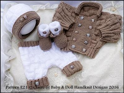 Double Breasted Jacket Set 16-22� doll/0-3m baby-knitting pattern, reborn, doll, baby, boy, babydoll handknit designs