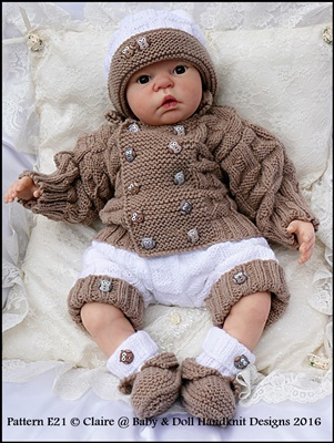 Double Breasted Jacket Set 16-22 inch doll/0-3m baby