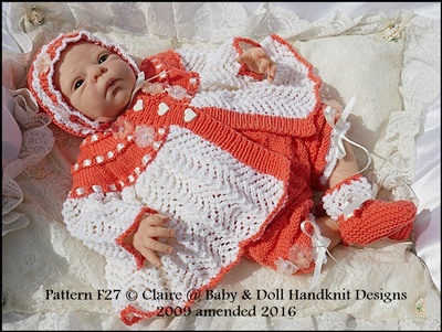 'Hearts and Lace' Matinee Set 16-22 inch doll/newborn/0-3m baby