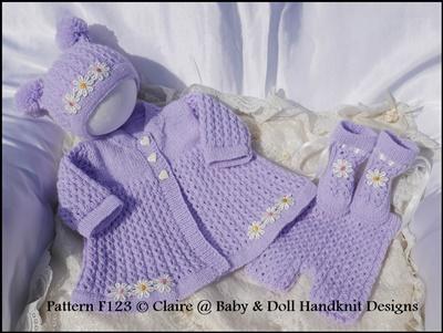 Chain Stitch Matinee Set 16-22 inch doll/prem-3m+ baby