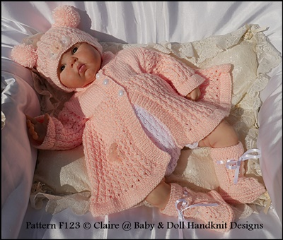 Chain Stitch Matinee Set 16-22&148; doll/prem-3m+ baby-knitting pattern, matinee, chain, baby, doll, babydoll handknit designs, claire's