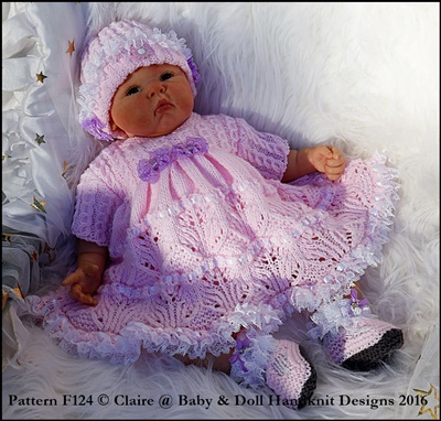 Dress & Doggy Motif Jacket Set 16-22 inch doll/preemie-3m baby