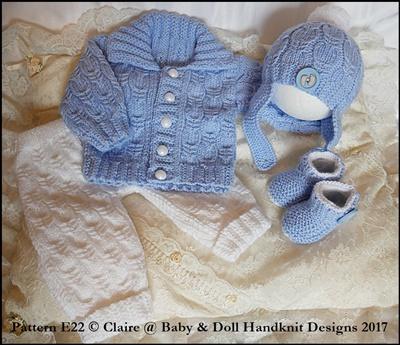 Cabled Pram Suit 16-22 inch dolls/newborn/0-3m baby