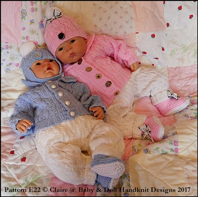 Cabled Pram Suit 16-22 inch dolls/newborn/0-3m baby
