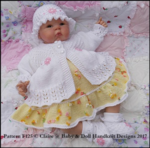 "Frilled Dress & Gathered Jacket Set 16-22"" doll/preemie-3m+ baby"