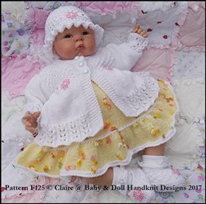 "Frilled Dress & Gathered Jacket Set 16-22"" doll/preemie-3m+ baby"