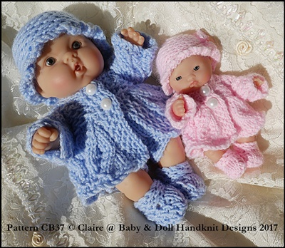Lacy patterned Coat Set for 5 & 8 inch Chubby Berenguer dolls