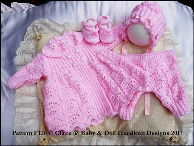 "Moss and feathered fan stitch coat set 16-22"" doll (preemie-3m+ baby)"