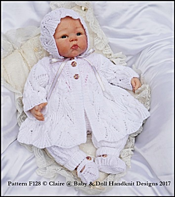 """Lacy Pram Suit 16-22"""" doll/prem-3m+ baby"""
