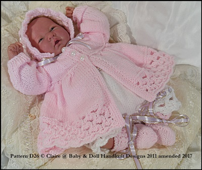 Lacy Edged Matinee Set 10-16 inch doll/preemie baby