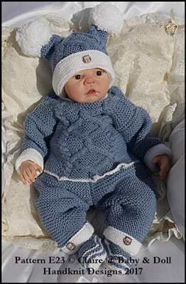 Cabled Garter Stitch Sweater Set 16-22 inch doll/0-3m baby