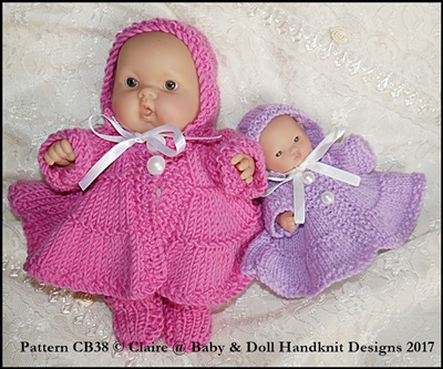 "Frilled layered coat Set for 5 & 8"" Chubby Berenguer dolls"