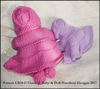 """Frilled layered coat Set for 5 & 8"""" Chubby Berenguer dolls"""