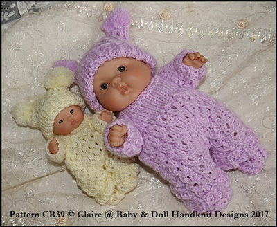 "Patterned All-in-One Set for 5 & 8"" Chubby Berenguer dolls"