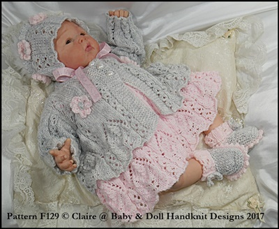 Lacy panelled Dress and Jacket Set 16-22 inch doll/preemie-3m+ baby